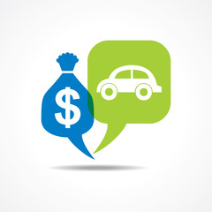 Car and dollar symbol in message bubble stock vector