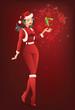 Santa Girl Holding a Christmas Gift