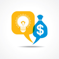 Light-bulb and dollar symbol in message bubble stock vector