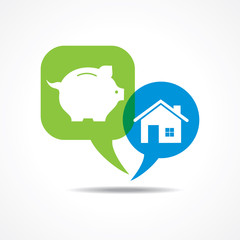 piggy bank and  home in message bubble stock vector