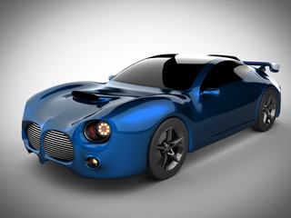 blue luxury brandless sport car on white background