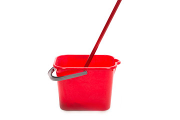 Red mop and bucket.