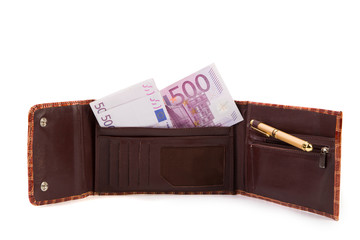 Wallet with euro banknotes.