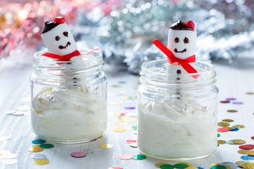 Christmas dessert with  marshmallow snowman