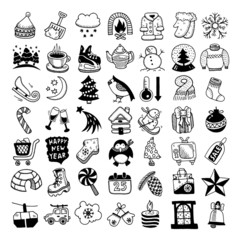 sketch hand drawing winter icons set