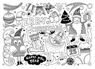 merry christmas and happy new year set