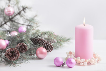 Christmas decoration with candles over white background