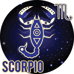 Scorpio zodiac Sign. Horoscope.Constellations and stars, blue an