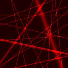 Background with red laser random beams
