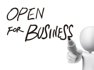 open for business written by 3d man