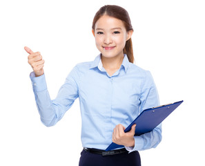 Business woman with clipboard and thumb up