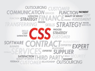 Word cloud of CSS related items, presentation background