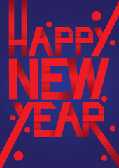 Happy New Year Red Paper Folding Fonts