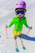 Skiing, young skier on mountainside