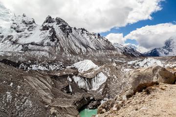 Melting glacier in mountais global warming climate