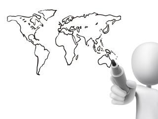 global map drawn by 3d man