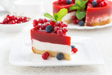 piece of cheesecake with berry jelly