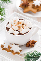spicy hot chocolate with marshmallows in a cup, vertical