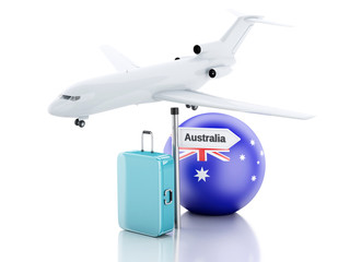 Travel concept. Suitcase, plane and australia flag icon. 3d illu