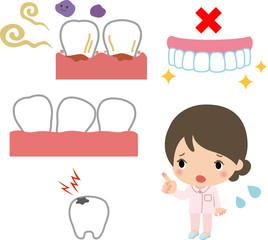 歯槽膿漏や虫歯のイメージ