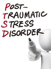PTSD word written by 3d man