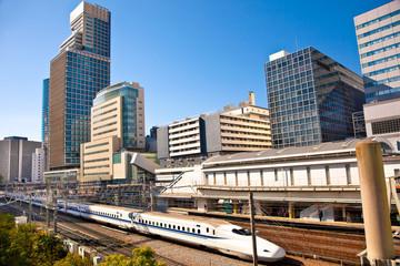 Railway with skyline shinkansen at Odaiba ,Tokyo, Japan.