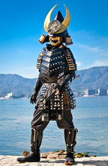 Japanese samurai costume in Miyajima, Japan.