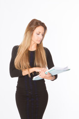Blonde pretty office woman
