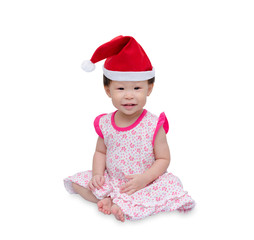 Happy asian girl with christmas hat over white background