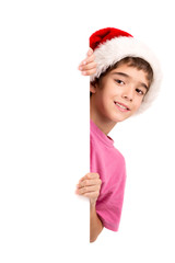 Boy with Santa's hat