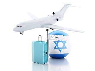 Travel concept. Suitcase, plane and Israel flag icon. 3d illustr