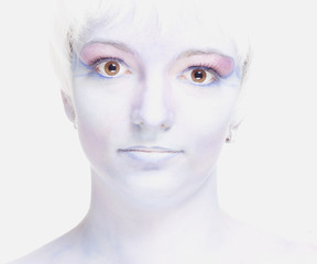 Woman with White Wig and Fantastic Makeup