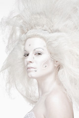 Woman with White Wig Posing as The Snow Queen