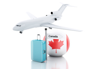 Travel concept. Suitcase, plane and canada flag icon. 3d illustr