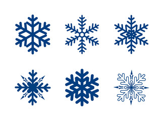 blue snowflakes isolated on white