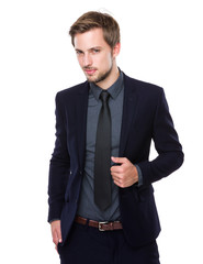 Businessman with hand hold the collar