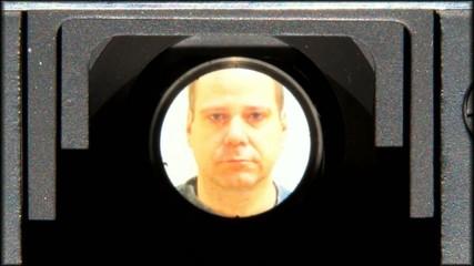focus portrait in lens of camera