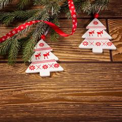 Christmas decoration, on wood background