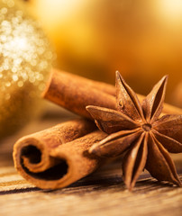Christmas decoration, close-up, anise, cinnamon,