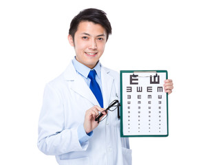 Optician with eyesight test and eyewear