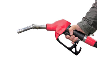 Man holding fuel pump on white background.