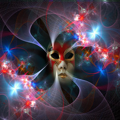 Surreal carnival mask and fractal pattern from a grid and bright