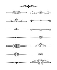 Floral vintage dividers elements for page decor and wedding