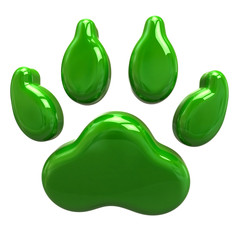 Green animal paw isolated on white background