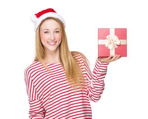Christmas woman hold with gift box