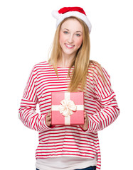 Christmas woman hold with present box