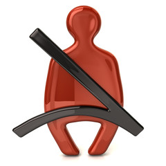 Safety belt red icon
