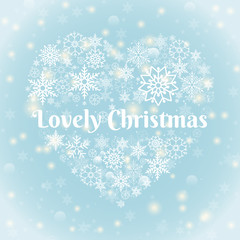 Lovely Christmas Texts on Heart Shape Snowflakes