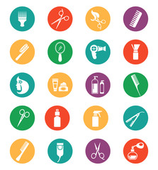 Colored Hairdressing Equipment Icons