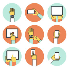 Hands Holding Touch Screen Devices Icons